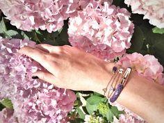 Purple lover  stingray bangle & personalised horoscope bracelet in silver .