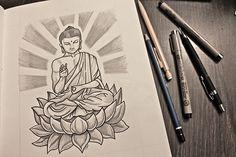 Meditating buddha sitting on a lotus. Buddha Drawing, Buddha Painting, Buddha Art, Geometric Mandala Tattoo, Mandala Design, Buda Tattoo, Buddha Tattoo Design, Wrist Tattoos For Guys, Madhubani Art