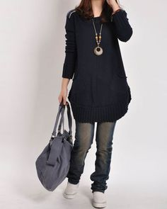 Black sweater dress knitwear large size knitted sweater coat casual loose sweater blouse plus size sweater tops cotton blouse cotton sweater on Etsy, $59.50