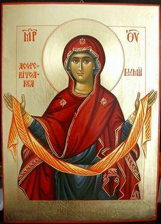 Beautiful Icon of the Theotokos Byzantine Icons, Orthodox Christianity, Blessed Virgin Mary, Religious Icons, Orthodox Icons, Blessed Mother, Madonna, Saints, Religion