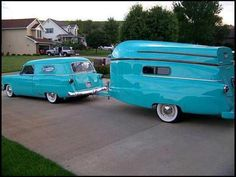 vintage camping turquoise trailer