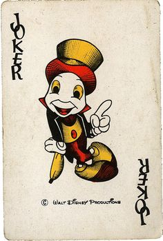 Jiminy Cricket Vintage Disney Playing Cards
