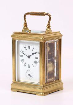 French Gilt Canele Carriage Clock Repeater Alarm Circa 1890