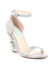 7f087a8568c1 Blue by Betsey Johnson Alisa Lace and Satin Wedge Sandals. Wedding Wedges  ...