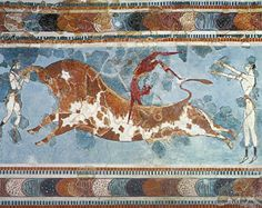 An ancient Minoan (inhabitants of Crete) fresco of bull-leaping; precursor to Greek art Greek History, Ancient History, Art History, Heraklion, Ancient Greek Art, Ancient Greece, Ancient Mysteries, Ancient Artifacts, Knossos Palace