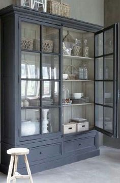 This hutch could go in a few different places. It could be the china cabinet in the dining room,a book case in the family room, or the hutch/cabinet in the kitchen eating area. I don't think I would change the colour. Decor, House Design, House, Interior, Painted Furniture, Home, House Styles, New Homes, House Interior