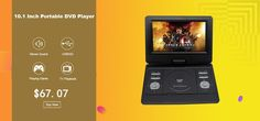 10.1-Inch Portable DVD Player TFT Screen USB SD Card 270 Degree Swivel Screen Rechargeable Battery GAME TV CD/ MP3/MP4 Player