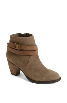 Love this strappy Steve Madden suede bootie.