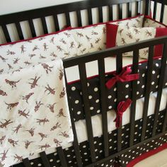Chocolate cream & red Sock Monkey Crib bedding by babymilanbedding