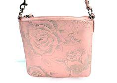 Coach Light Pink Leather & Silver Rose Embossed Madison Crossbody Bag 43833 #Coach #MessengerCrossBody