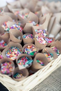 Colorful confetti in cones - ready for the newlyweds!