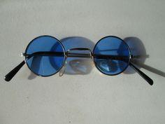Small Sunglasses John Lennon Style Glasses 70s Vintage Round Hippie Retro Blue