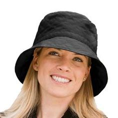 Black sun protective, winter rain hat. Great fashion bucket for wet winter weather. Perfect for travel. Super comfortable fleece lining keeps your head warm in the winter months and sun safe from winter UVA rays.
