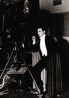 Bela Lugosi taking a cigar breakon the set of Dracula (1931, dir. Tod Browning)
