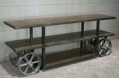 Industrial console table Trolley Cart/ Media Console /