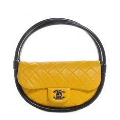 CHANEL Quilted Lambskin Small Hula Hoop Flap Yellow ❤ liked on Polyvore featuring bags, handbags, flap handbags, quilted handbags, lambskin handbags, yellow handbags and lambskin purse