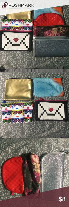 💝7💝 Make-Up Bags! Ipsy, Forever 21 Brands! 💝7💝 Make up bags! None of them have been used except for the gold and the purple flower bag. I got 5 of them from Ipsy, the purple flower bag from Forever 21, and the glitter bag is from TJ Max. (That one has special place for brushes) 💝TAKE ADVANTAGE OF MY SHOPPING ADDICTION💝 🌟BUNDLE AND RECEIVE MORE DISCOUNT🌟 Ipsy, Forever 21 Bags Cosmetic Bags & Cases