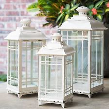Off-White Metal Lanterns - Set of 3 Home Decor Candle Holder Hanging Table Top