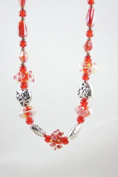Red Lampwork bead necklace Heart Necklace by ShadesofyouJewelry