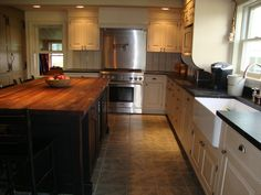Furniture, Old Black Wood Kitchen Island With Oak Butcher Block Island Top With Ladder Seating And White Cabinet With Black Marble Countertop Ideas ~ Butcher Block Island