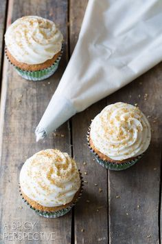 Hummingbird Cake Cupcakes with Sour Cream Frosting