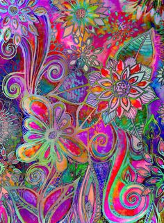 Gardens Edge by Robin Mead Art Floral, Illustration Photo, Garden Edging, Arte Pop, Art Abstrait, Art Graphique, Abstract Flowers, Of Wallpaper, Whimsical Art