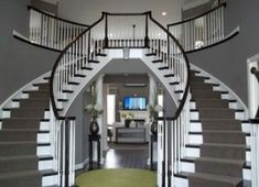 37 Amazing Double Staircase Design Ideas With Luxury Look - When building a house with two or more floors, one of the most important aspects to consider is the placement and style of the staircase. The staircas. Double Staircase, Grand Staircase, Staircase Design, Staircase Ideas, Luxury Staircase, Entrance Design, House Entrance, Entrance Ideas, Grand Entryway