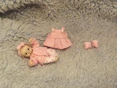 Miniature handmade MINI BABY GIRL SCULPT ooak DOLLHOUSE ART DOLL HOUSE OUTFIT