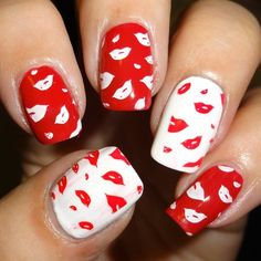 MoYou Nails Plate 20 - #nailart #nails #lipstick #kissnails #red #kisses #wendysdelights - bellashoot.com