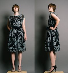GALANOS Black Vintage 1980s Embroidered Lace Dress #vintage #galanos #lace