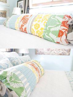 DIY Patchwork Lumbar Pillow to dress up a bed..