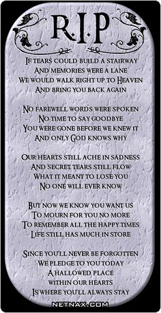 Elegy for my dear nephew Michael, 30yrs. old who passed away today suddenly.