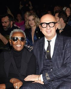 Guests at the Gucci Fall Winter 2019 show by Alessandro Michele, Bethann Hardison photographed with Gucci President and CEO, Marco Bizzarri. Gucci Fashion, Fashion Show, Bethann Hardison, Alessandro Michele, Alternative, Fall Winter, Mens Sunglasses, Runway Fashion