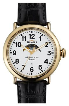 Shinola 'The Runwell' Moon Phase Leather Strap Watch, 47mm available at #Nordstrom