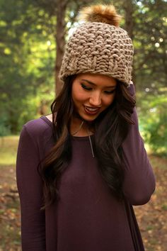 Beauty and The Beanie With Faux Fur Pom in Mocha