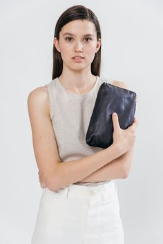 Amazon.com: BAGGU Leather Small Clutch - Blue: Shoes