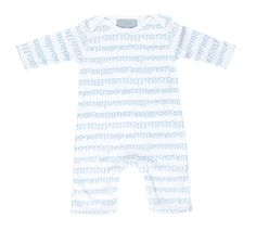 White & pebble grey squiggle print cotton all-in-one. Available in newborn and 6-12 month sizes. Comes packaged in matching cotton drawstring pouch.