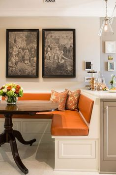 banquette for kitchen/Traditional Kitchen by Charmean Neithart Interiors, LLC. Small Apartment Patio, Kitchen Benches, Home, Interior, Kitchen Booths, Kitchen Seating, Dining Nook, Dining Booth, Home Decor