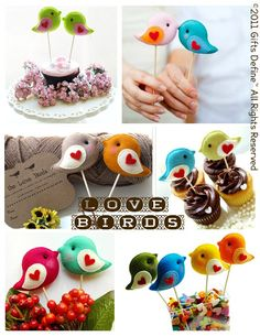 Love birds unique party toppers for baby shower, birthday favors, wedding gifts