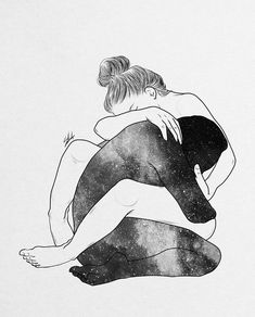 Je suis là mon coeur , Keep holding on, We'll make it through, Just stay strong cause you know that i will always be here for you. Couple Sketch, Couple Art, Art Sketches, Art Drawings, Interracial Art, Drawing Feelings, Galaxy Painting, Black And White Drawing, Black White