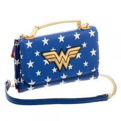 Wonder Woman DC Comics Crossbody Purse Wallet Clutch Bag Shoulder Strap Blue NEW #Bioworld #HybridCrossbodyWalletClutch