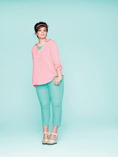 Pastels are where it's at. Ahhh love those trousers! Plus size fasion wedge heels