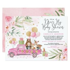 Pink and Gold Woodland Drive Through Baby Shower Invitation Baby Shower Invites For Girl, Baby Shower Invitations, Cute Pink, Pretty In Pink, Safari Party, Jungle Safari, Safari Animals, Woodland Animals, Forest Animals