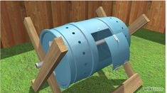 How to Build a Tumbling Composter. One of the keys to successful composting is aeration. Bacteria need oxygen to carry out the aerobic respiration that creates a rich compost. One way to aerate your compost is with a pitchfork or a. Garden Shed Diy, Quick Garden, Lawn And Garden, Garden Ideas, Garden Tips, Tumbling Composter, How To Make Compost, Garden Compost, Worm Composting