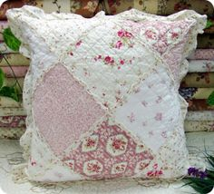 """Princess Pink Rose Patch Frill Cotton Quilted Cushion Cover on EBay from  """"dimodumpling"""" ~ GORGEOUS!"""