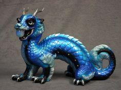 Windstone Editions * Blue Morpho Oriental Sun Dragon * Fantasy Figure Statue