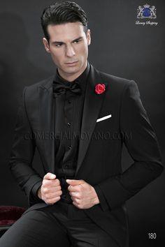 Italian bespoke suit black tuxedo in madras plaid wool fabric with black satin peak lapel and single button closure, style 180 Ottavio Nuccio Gala, 2015 Black Tie collection.