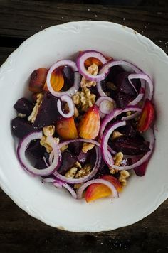 roasted beet and walnut salad with kombucha vinaigrette - Nourished Kitchen