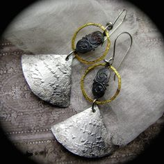 Secrets Unearthed, mixed metal jewelry, antique text script, textured metal sheet, handmade earrings, hammered aluminum, AnvilArtifacts