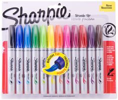 Sharpie Brush Tip Permanent Markers Set 12 Assorted Colors   in Crafts, Art Supplies, Drawing & Lettering Supplies | eBay!